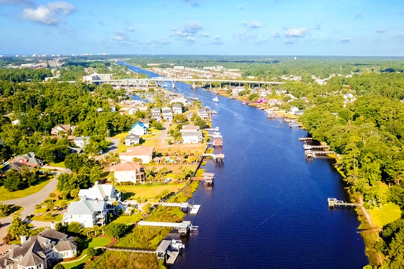 Aerial view of the Intracoastal Waterway in Little River, South Carolina