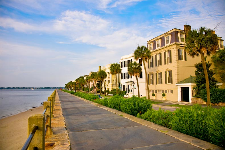 Homes along the waterfront in Charleston, South Carolina
