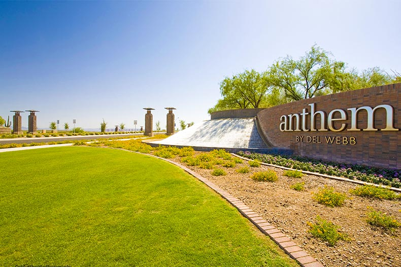 Entrance sign and front driveway into Sun City Anthem at Merrill Ranch
