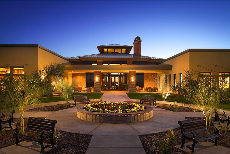 Clubhouse at dusk in Sun City Anthem at Merrill Ranch