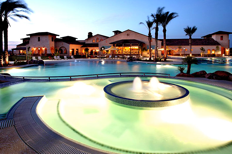 The outdoor pool and spa in Sun City Festival in Buckeye, Arizona.