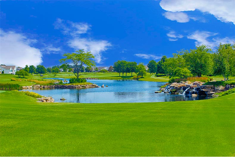Greenspace and pond under a blue sky in Sun City Huntley