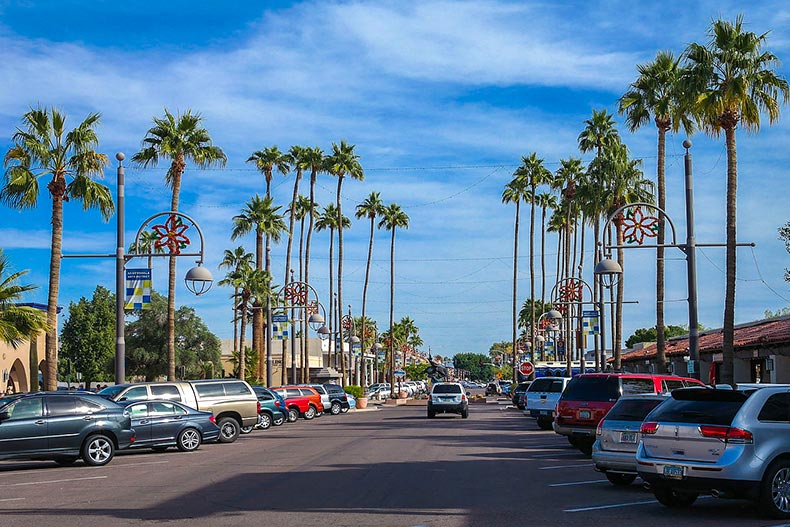 Cars parks and driving on main street in Scottsdale, AZ