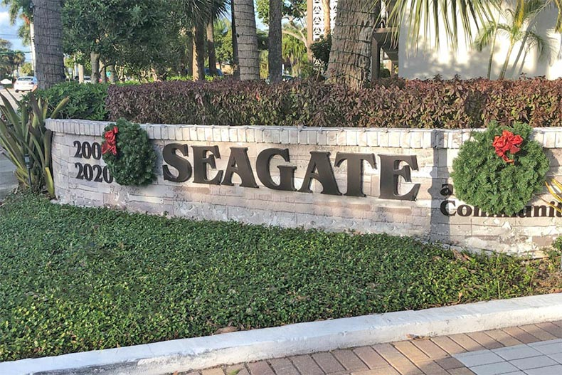 The community sign for Seagate of Gulfsteam in Boynton Beach, Florida