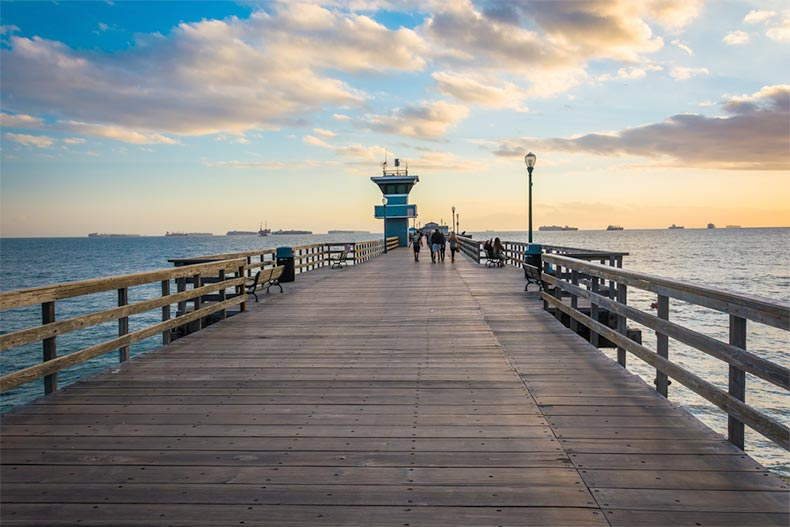 The pier at sunset in Seal Beach, California