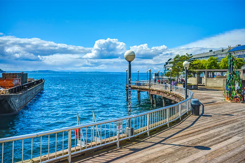 Waterfront Pier looking out onto Puget Sound in Seattle, Washington