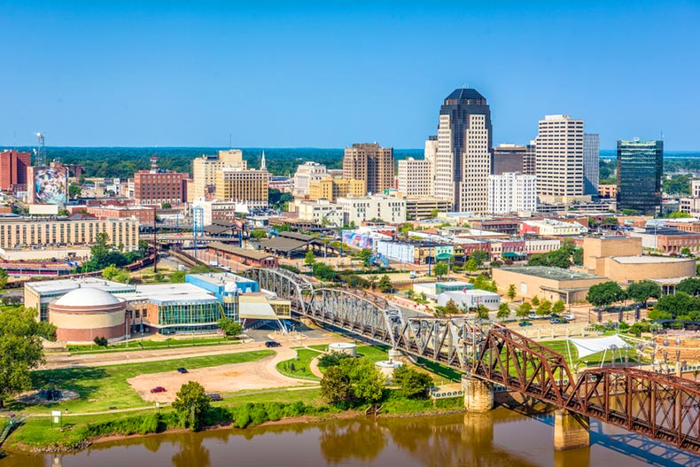 Aerial view of downtown Shreveport, Louisiana beside the Red River