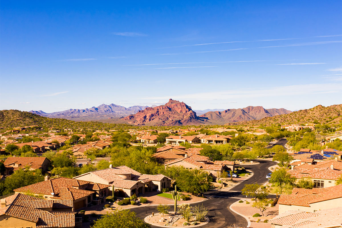 Mesa Arizona with mountains in the background