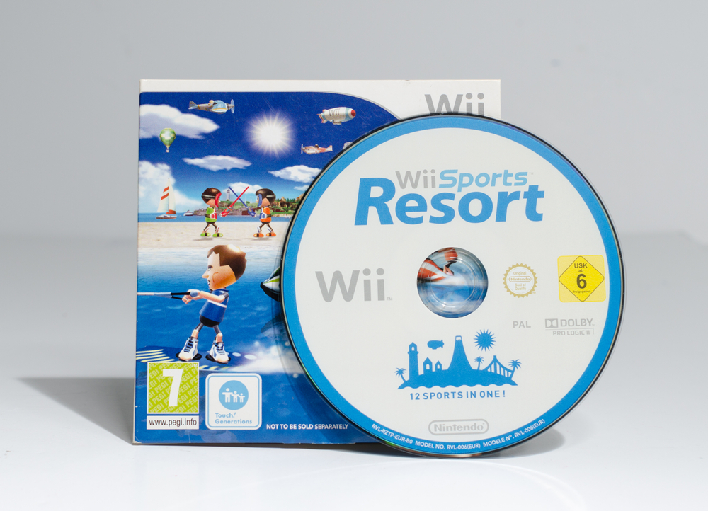 The disk and case for WiiSports Resort against a white background