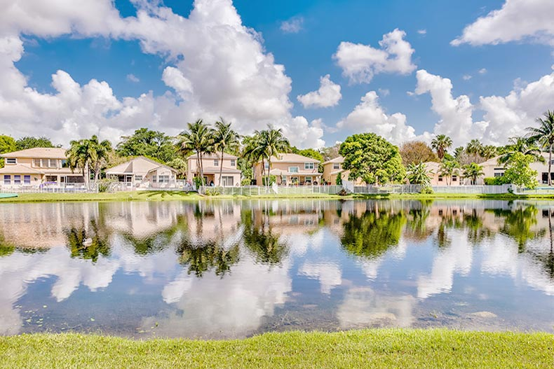 View of homes and palm trees surrounding a lake in Coconut Creek, Florida