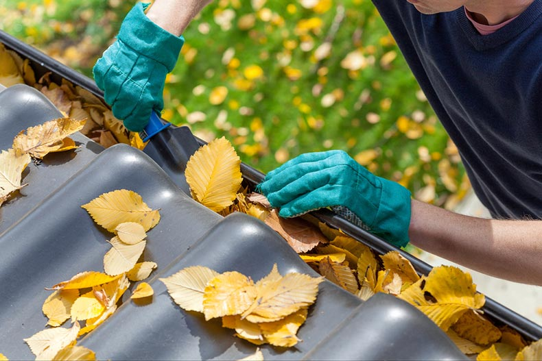 A maintenance man cleaning autumn leaves from a house gutter
