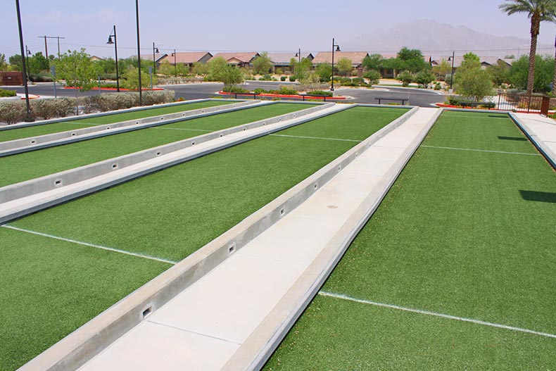 The bocce ball courts at Solera at Stallion Mountain in Las Vegas, Nevada