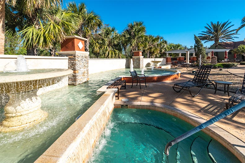 A fountain beside the outdoor spa at Solivita in Kissimmee, Florida