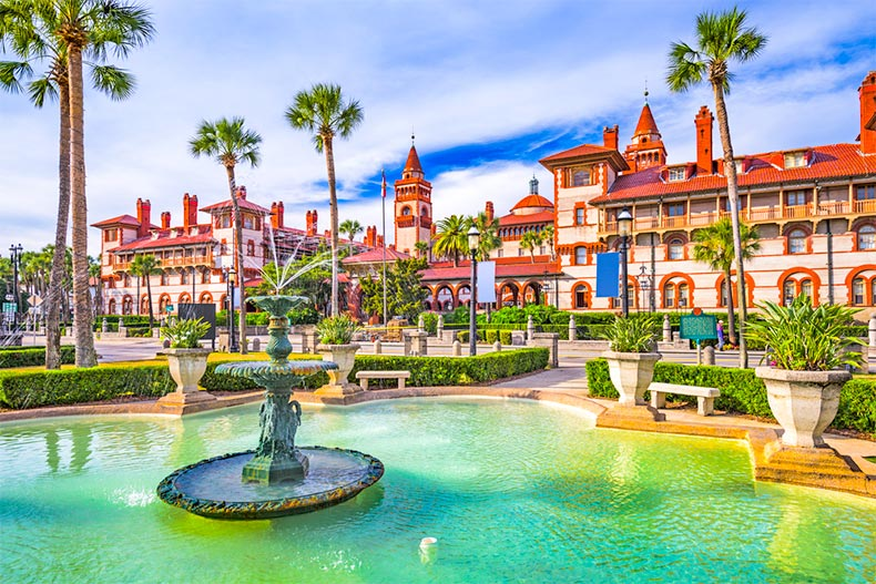 Palm trees surrounding the fountain in the town square in St. Augustine, Florida