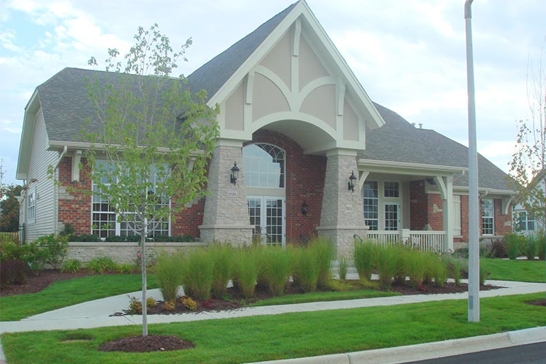 Exterior view of a community building at Stonegate West in Aurora, Illinois