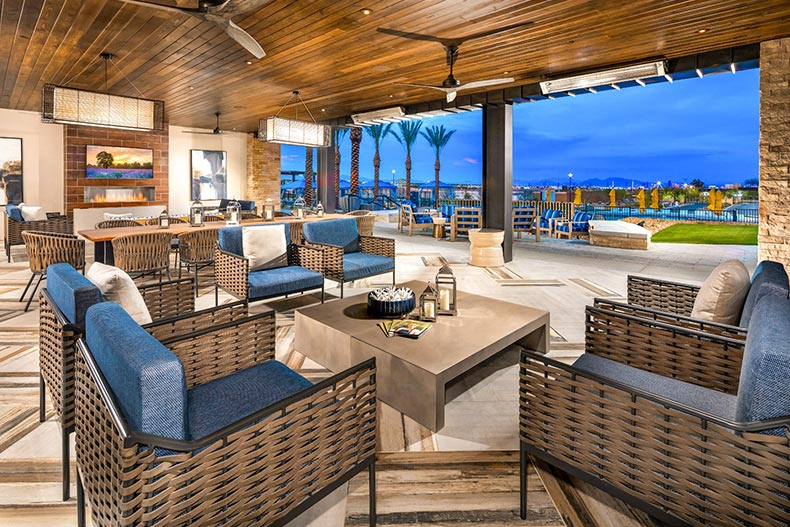 Twilight view of the outdoor deck at Trilogy in Summerlin in Las Vegas, Nevada