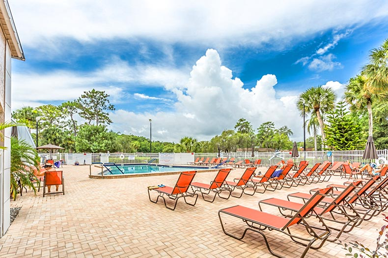Lounge chairs on the patio beside the outdoor pool at Summertree in New Port Richey, Florida