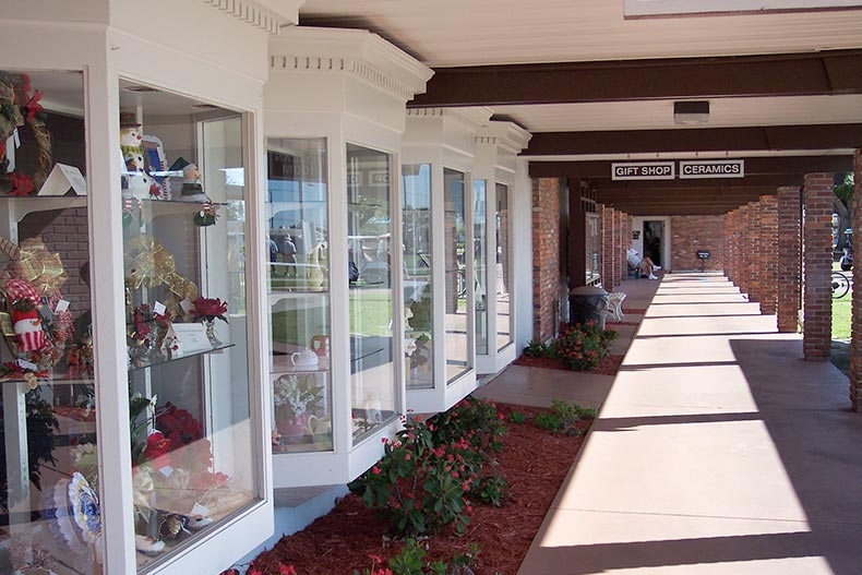 Exterior view of the community gift shop and ceramics workshop at Sun City Center in Florida