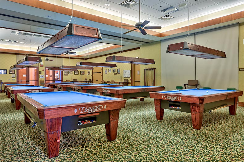 Billiards tables at Sun City Grand in Surprise, Arizona