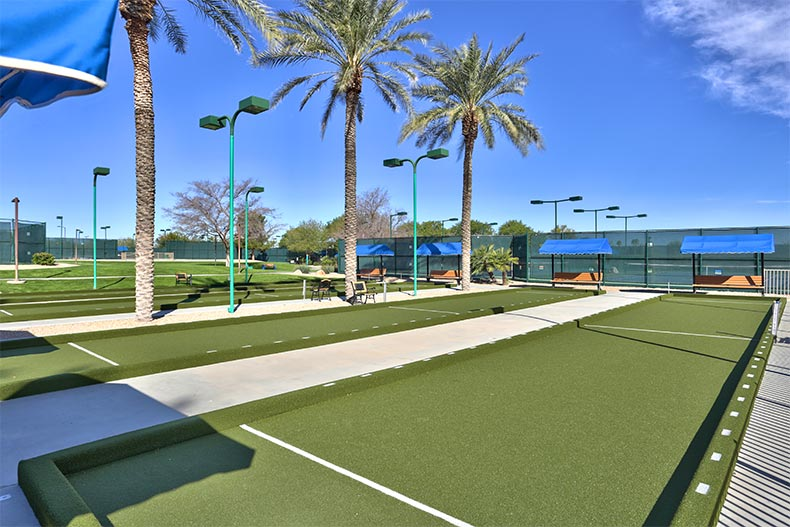 The outdoor bocce ball courts at Sun City Grand in Surprise, Arizona