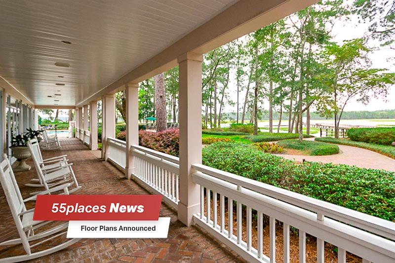 """Floor Plans Announced"" banner over rocking chairs sitting on a porch at Sun City Hilton Head in Bluffton, South Carolina"