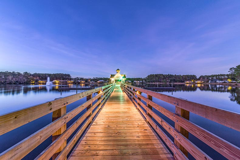 View down the wooden pier at Sun City Hilton Head in Bluffton, South Carolina
