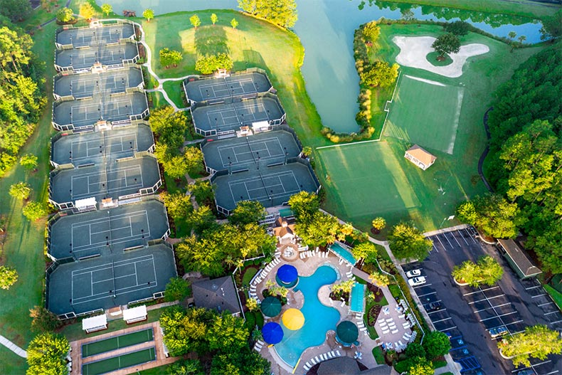 Aerial view of the amenities at Sun City Hilton Head in Bluffton, South Carolina