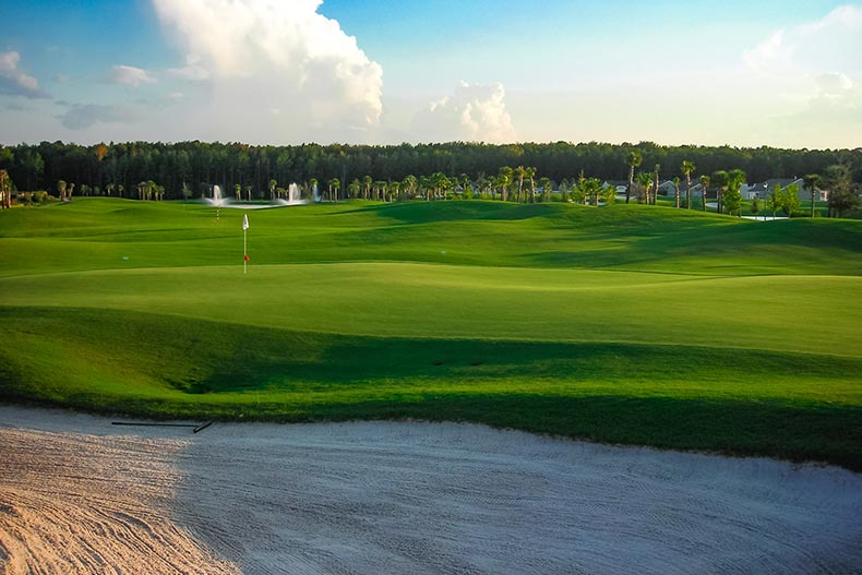 Picturesque view of a golf course at Sun City Hilton Head in Bluffton, South Carolina