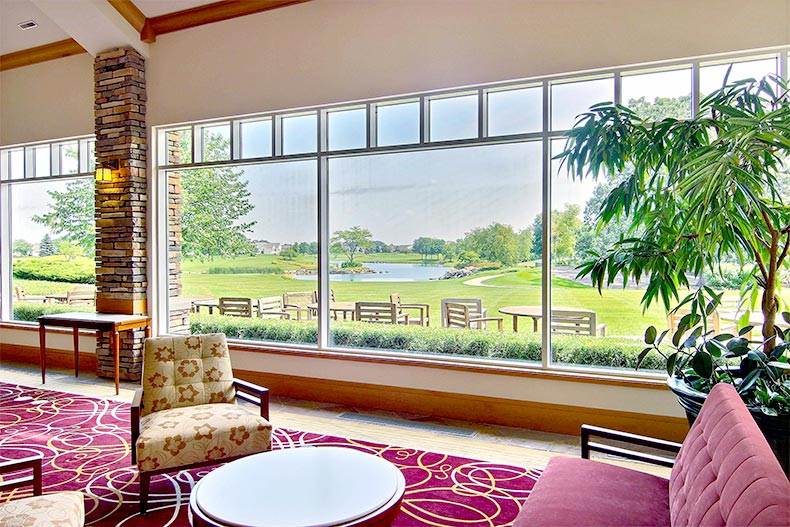 View of the golf course from the clubhouse at Sun City Huntley in Huntley, Illinois