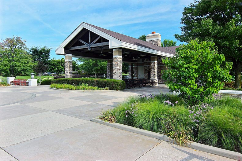 Exterior view of the entrance to a clubhouse at Sun City Huntley in Huntley, Illinois