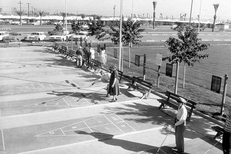 Residents playing shuffleboard at Sun City in the 1960s