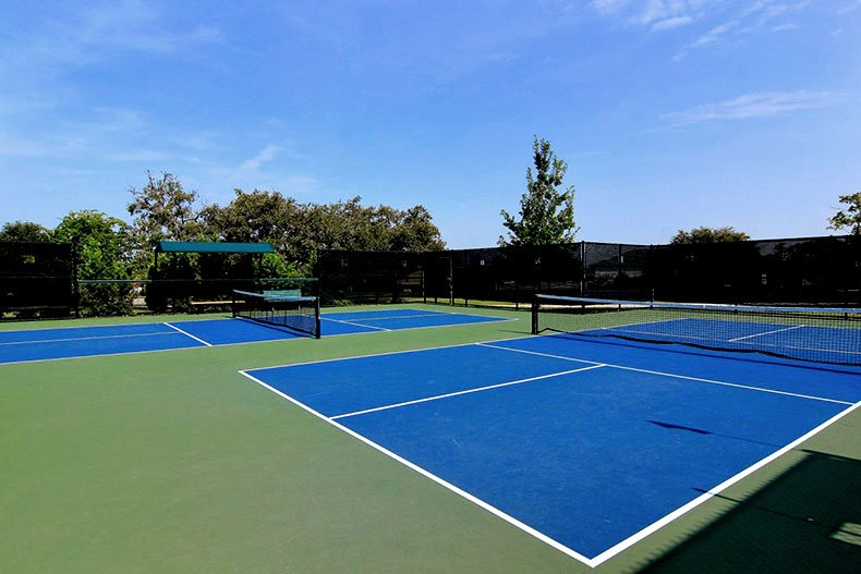 Two pickleball courts in Sun City Texas in Georgetown, Texas.