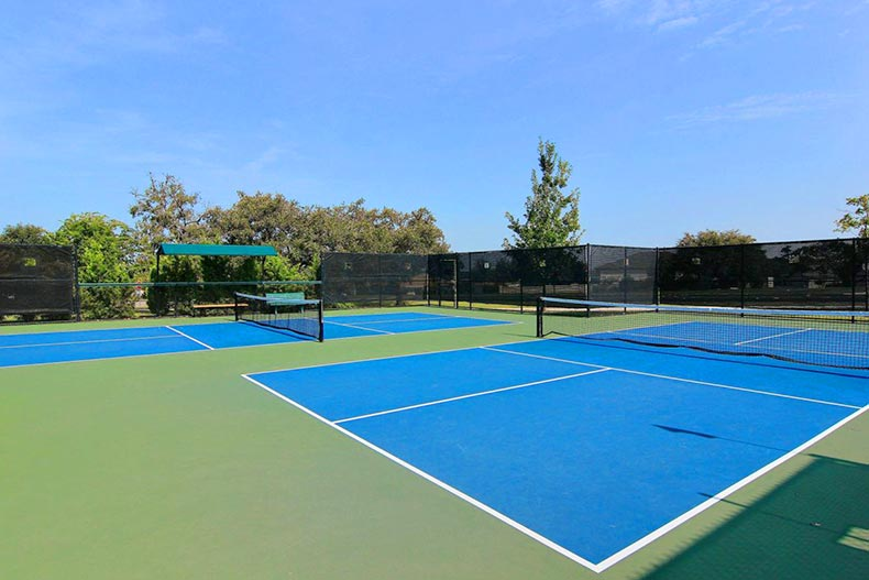The pickleball courts at Sun City Texas in Georgetown, Texas