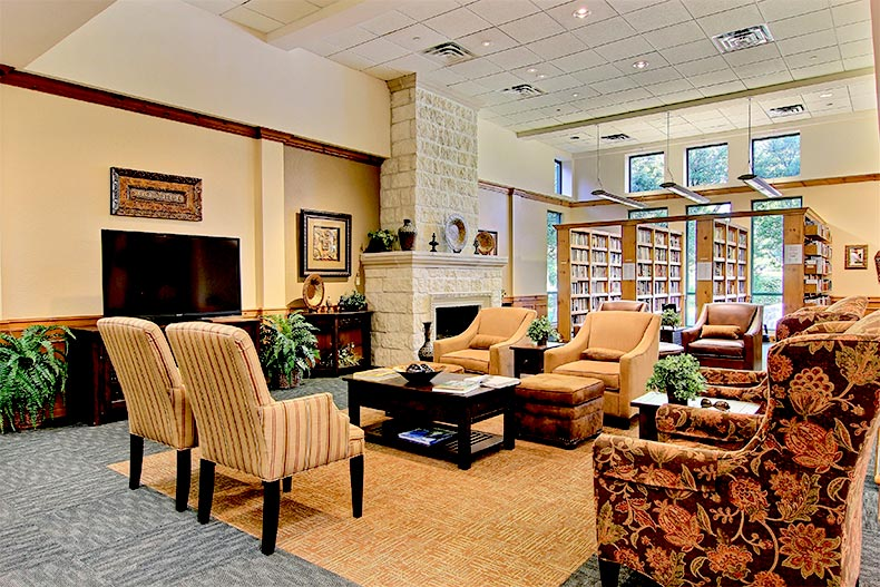 Library inside the clubhouse at Sun City Texas in Georgetown, Texas