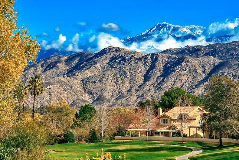The view of the mountains in Sun Lakes Country Club in the Inland Empire of California.