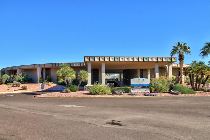 front of sun city arizona's community and recreation center