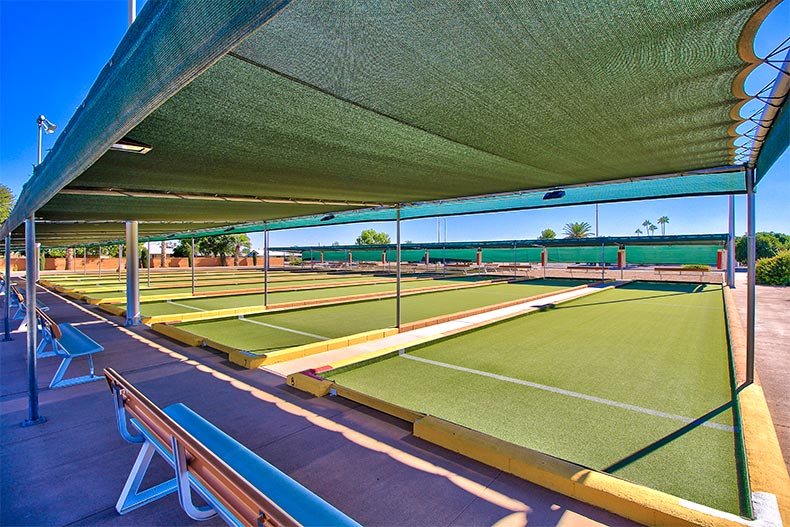 Shaded bocce ball courts in Sun City near Phoenix, AZ
