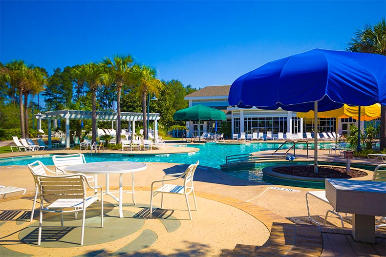 Resort style pool and patio at Sun City Hilton Head