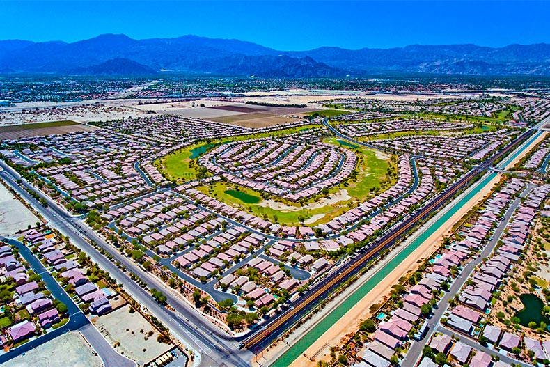 Aerial view of Sun City Shadow Hills, a 55+ community in Indio, California