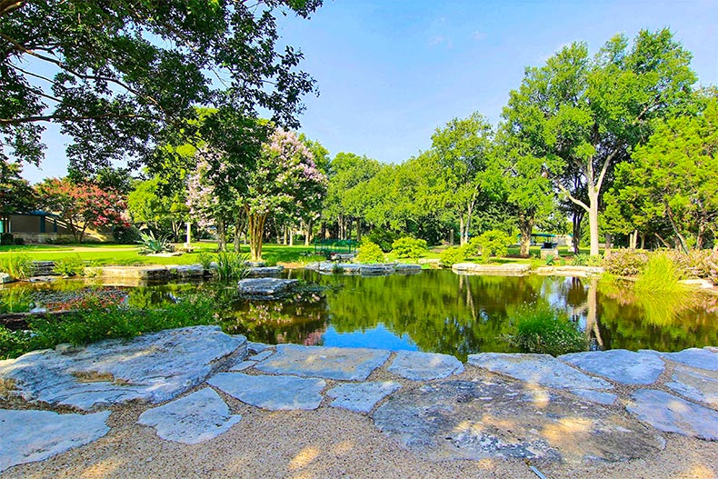 Landscaping and pond in Sun City Texas