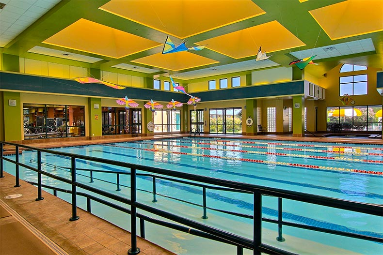 View of the indoor lap pool and fitness center at Sun City Texas in Georgetown, Texas