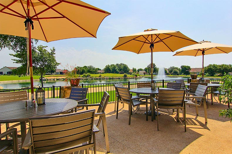 Outdoor seating with a pound at Sun City in Texas