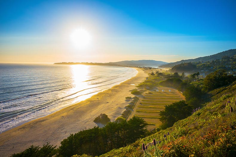 Sunset over Stinson Beach just north of San Francisco, California