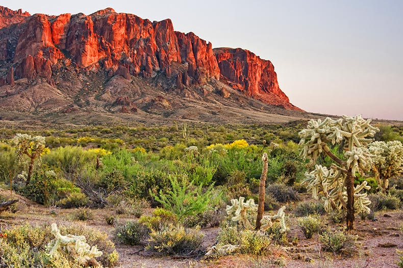 View of the Superstition Mountains east of the Phoenix area in Arizona