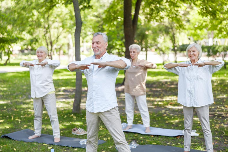 A group of seniors practicing Tai Chi in a park
