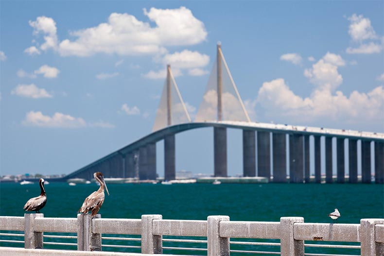 View of Sunshine Skyway Bridge over Tampa Bay in Florida