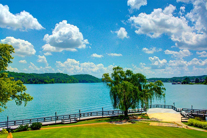 lake with mountain views at Tellico Village in London Tennessee