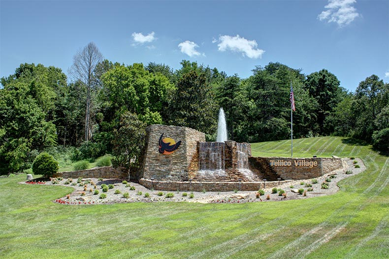 The community entrance sign and water feature for Tellico Village in Loudon, Tennessee