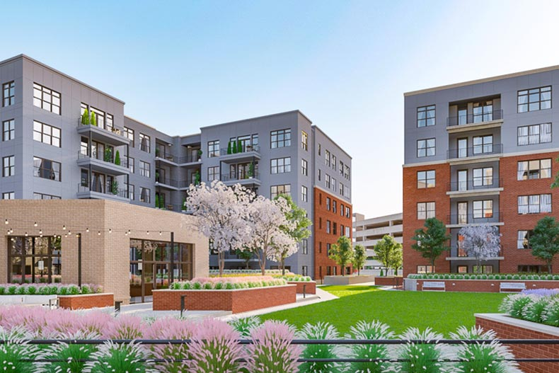 A rendering of the condo buildings at The Atrium at MetroWest in Fairfax, Virginia