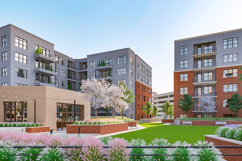Rendering of the condo buildings and community courtyard at The Atrium at MetroWest in Fairfax, Virginia